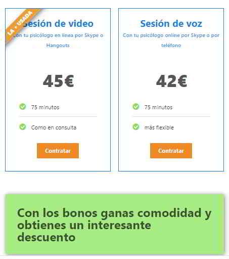Precios sesiones de terapia online de video y teléfono
